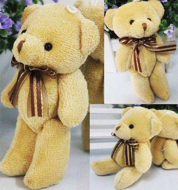 2019 Cute Soft Plush Stuffed Mini Brown Ribbon Teddy Bear Toys Kids Toy Doll for Bouquet 12cm DIY Gift For Girl Friend Uncategorized Decoration Stuffed & Plush Toys Toys