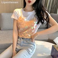 Summer Women Short Tshirt Women Sequined Patchwork Sweet Ladies Fashion Cotton Top O neck Female Pullover Loose 363