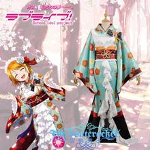 Free shipping Custom Made high qualtity Love Live Koizumi Hanayo Uniform Girls kimono cosplay costume