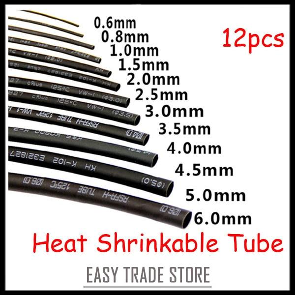 Aliexpress buy new sizes black heat shrink tubing