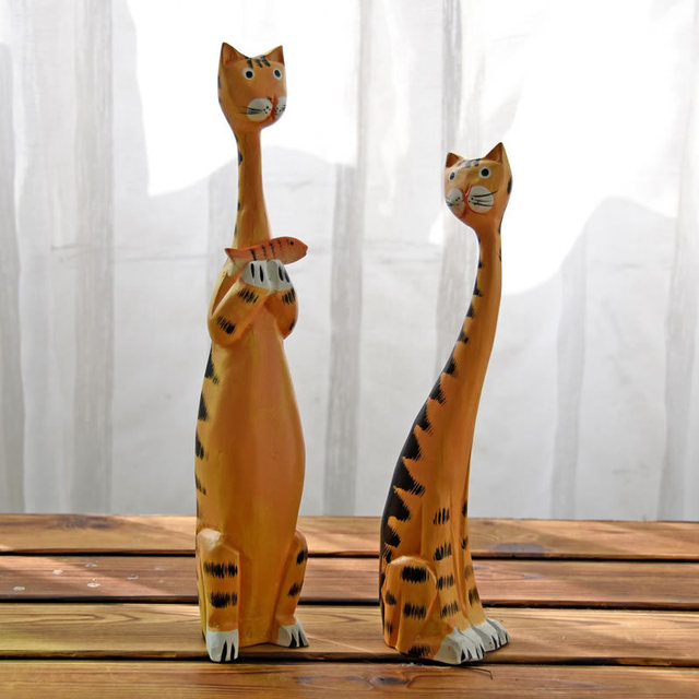 2pcs Creative Nordic Wooden Cat Model Ornaments Home Decor Wood Carving Painting Crafts Cat Miniature Furnishing Articles Gifts