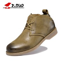 Z.Suo New Men's Winter Boots Genuine Leather Boots Male Autumn Ankle Boots Brand Man Spring Trend Walking Shoes