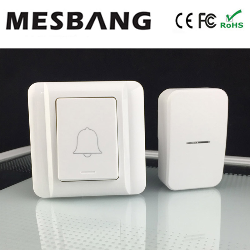 2017 No need Battery With EU US AU UK power plug wireless Doorbell 433hmz with Chime  no need cable to install  Free Shipping cacazi wireless cordless doorbell remote door bell chime one button and two receivers no need battery waterproof eu us uk plug