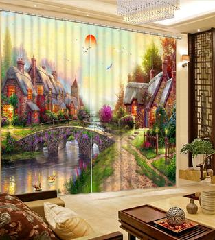 painting 3D Curtain Luxury Blackout Window Curtain Living Room europe curtains landscape curtain
