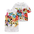 Girls Clothing Sets 2016 New Autumn Floral Printed Girls Clothes Fashion Pink Blue Color Butterfly Kids Clothes Jacket + Dress