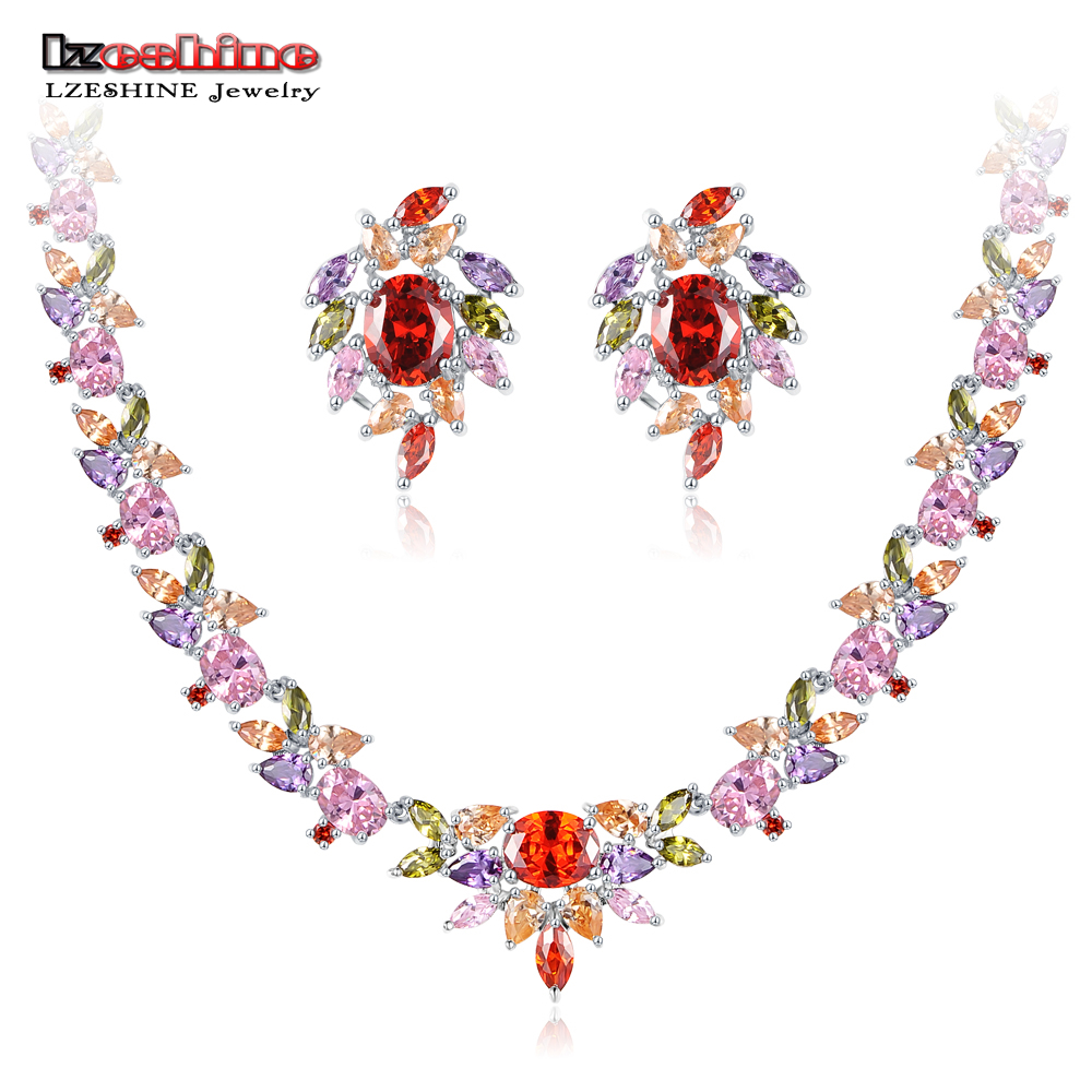 LZESHINE Colorful Nekclaces /Earrings Stud Jewelry Sets Silver Color with AAA CZ Stone Wedding Engagement Jewelry C LYST0071