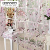 ISINOTEX Window Curtain Purple Butterfly Burnout Tulle Voile Fabric Transparent Sheer Living Room Screening 1PCS Lot