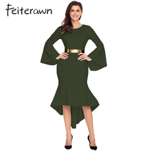 Feiterawn Long Sleeve Women Party Dresses Winter Jurk 2018 Royal Blue Bell  Sleeve Dip Hem Belted Dress Vestido De Invierno 680b310cb
