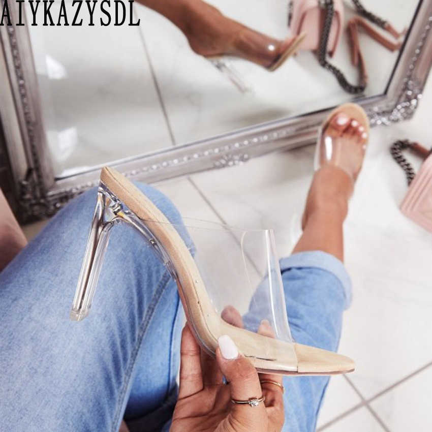 AIYKAZYSDL Women Crystal Clear Sandals Peep Open Toe Transparent Thick Block Chunky High Heel Summer Sandals Mules Slides 35-40