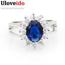 Krásný stříbrný prsten s velkým modrým krystalem
