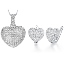 Amazing price silver plated jewelry full crystal heart jewelry set for women drop earrings pendant necklaces set hot sale