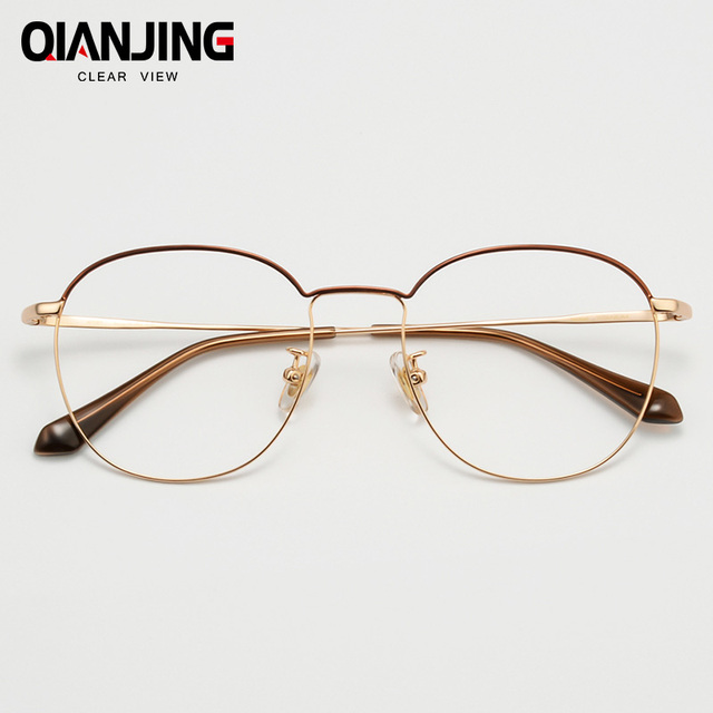 6e37feafa6c QianJin Pure Titanium Spectacle Frame Women Vintage Eyeglasses Men Computer Optical  Retro Eye Glasses For Female