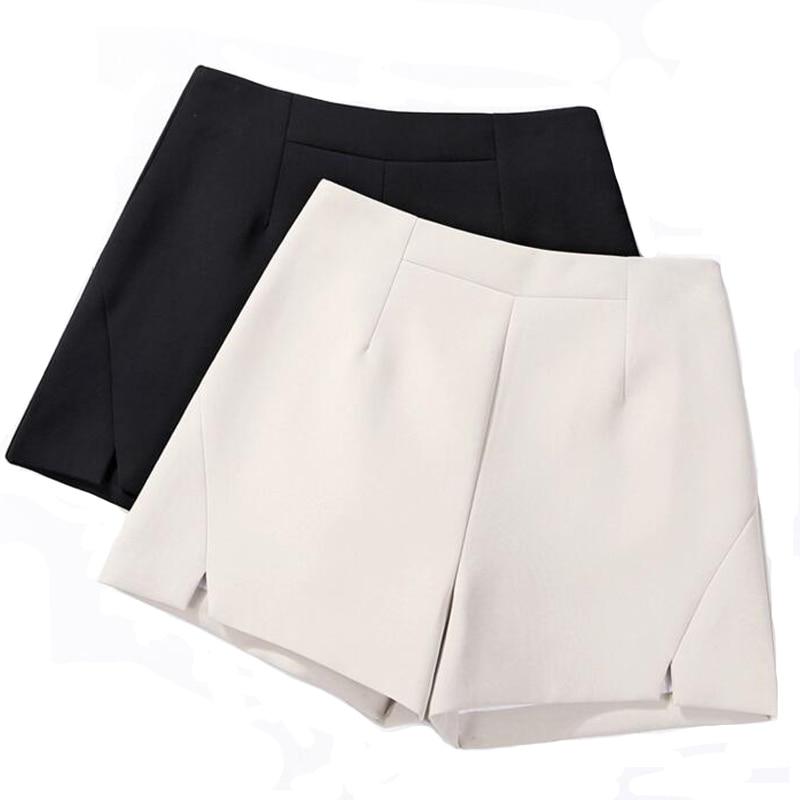 Women High Wasit Chiffon   Shorts   Summer Office Lady White   Shorts   Plus Size Korean Fashion Bottoms Back Zipper Cute Streetwear