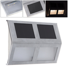 Waterproof LED Solar Light 4 LEDs Wall Lamp with Stainless Steel for Outdoor/ Stair / Fence / Garden / Yard/ Street 1 4pcs led solar light wall lamp stainless steel waterproof garden decoration fence stair pathway yard security light solar lamp
