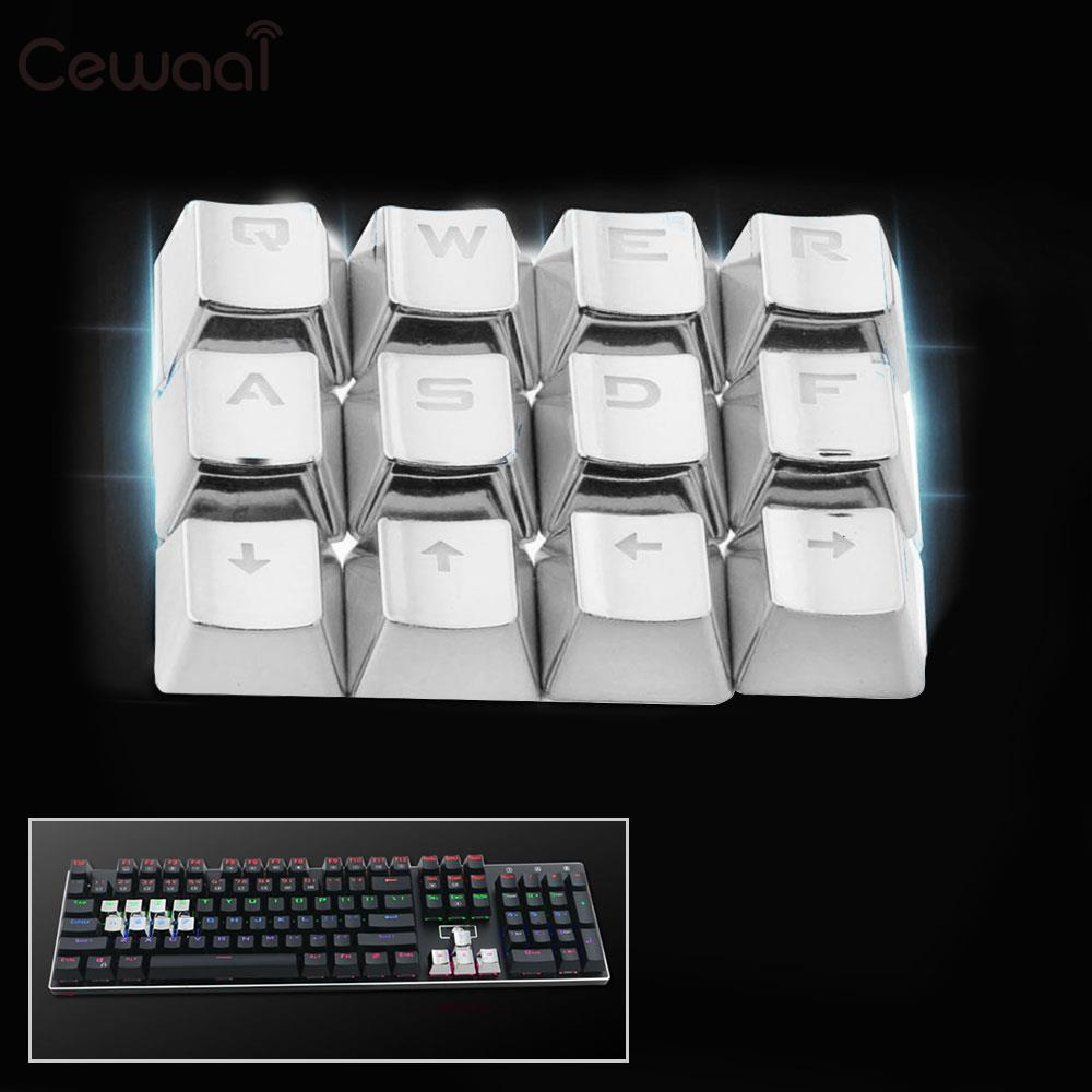 Cewaal Universal Protective Mechanical Keyboard Caps PBT Plating 12Pcs Keycaps Dustproof  With Replacement Tools