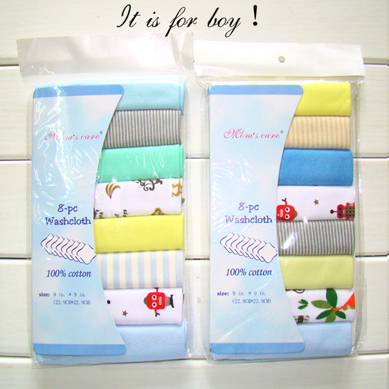 Neonatal cotton material feeding napkin handkerchief baby saliva towel handkerchief child fine knitted cotton cloth towel 8pcs