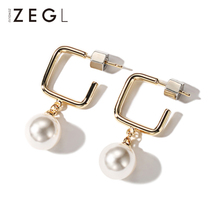 ZEGL Womens Earrings Simple Imitation Pearl Bohemian