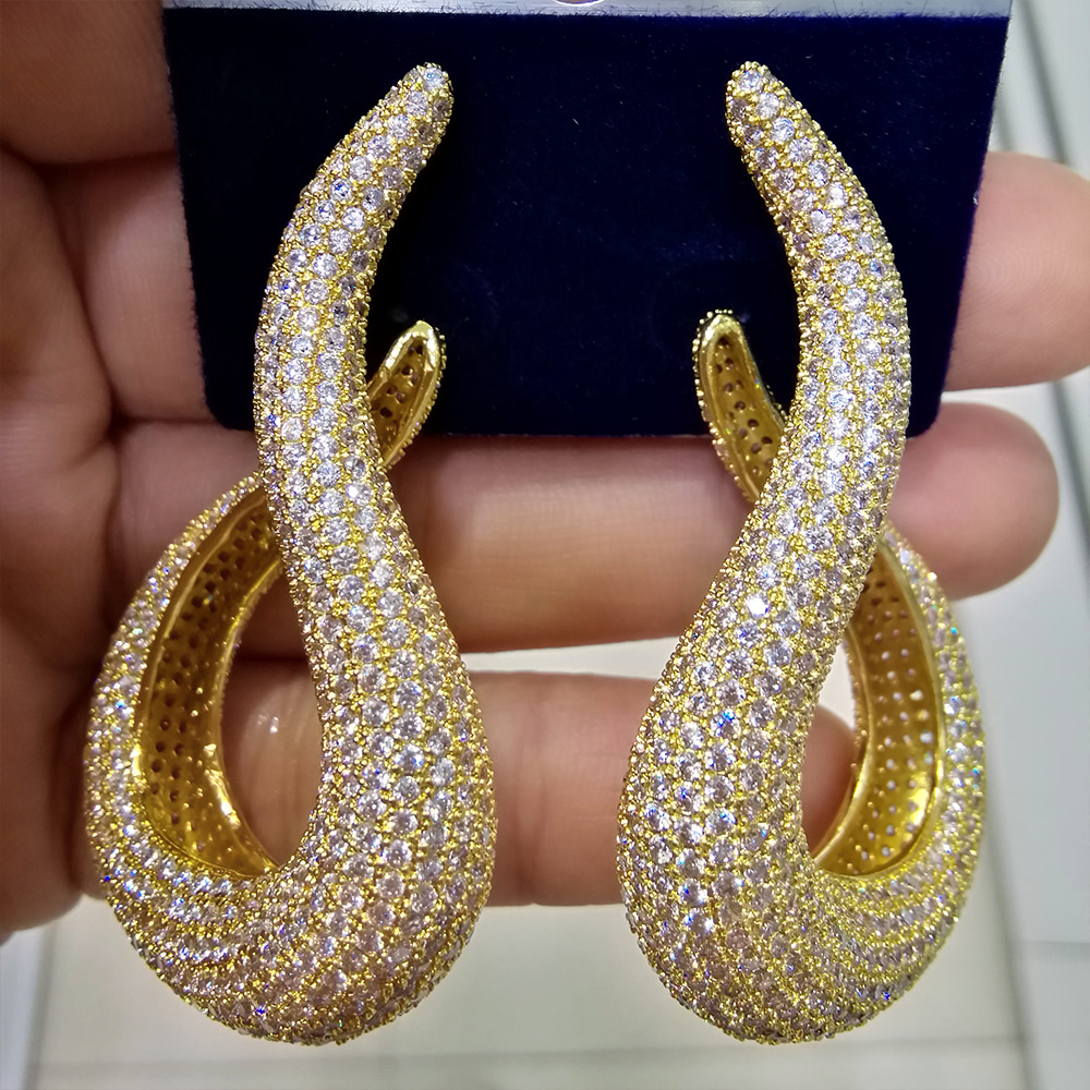 GODKI  Luxury Geometry Water Drop Cubic Zirconia American Wedding Party Earring Jewelry for Women High Jewelry