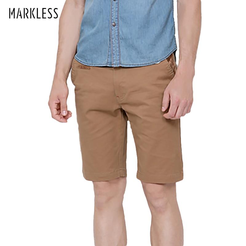 Markless Summer Casual Men Shorts para hombre sólido de color caqui - Ropa de hombre - foto 1