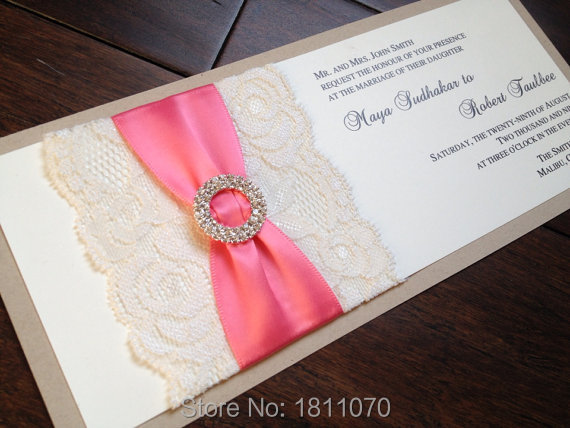 Elegant Rectangle Double Layer Wedding Invitations With Lace And Ribbon Super Quality Cards LCPA108