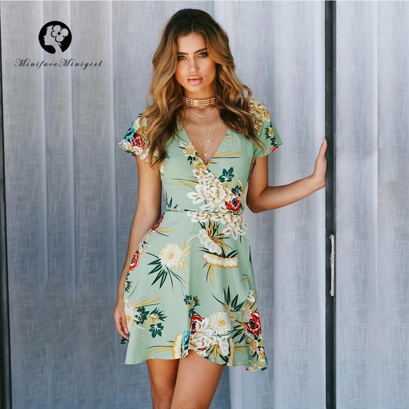 Green Deep V Neck Short Dress 2018 Sexy Mini Robe Femme Floral Print Summer Women Dresses Casual Party Vestidos