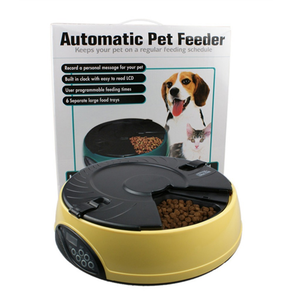 3Colors Automatic Pet Feeder 6 Meal LCD Digital Automatic Pet Dog Cat Feeder Recorder Bowl Meal