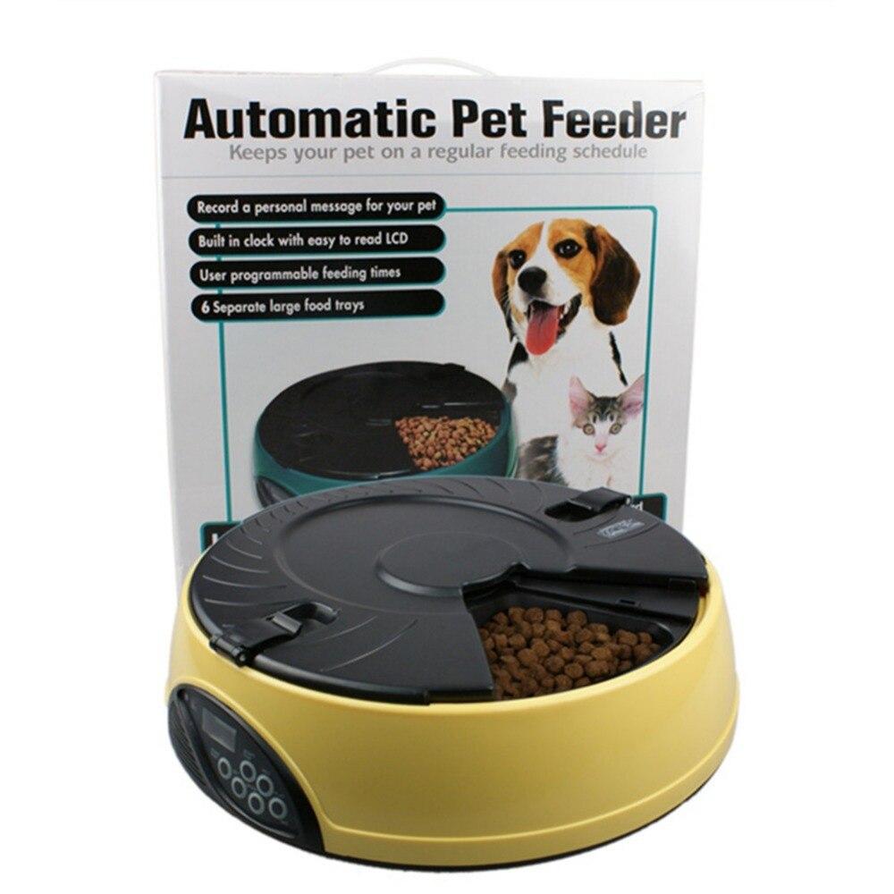 3 Couleurs Automatique Pet Feeder 6 Repas LCD Numérique Automatique Pet chien Chat Mangeoire Enregistreur Bol Repas Distributeur Ensemble 6 d'alimentation fois