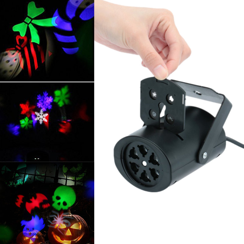 LumiParty Creative LED Projection Lamp Stage Light 4 Cards Pastern Light for Christmas Halloween Valentine Day Birthday KTV Club