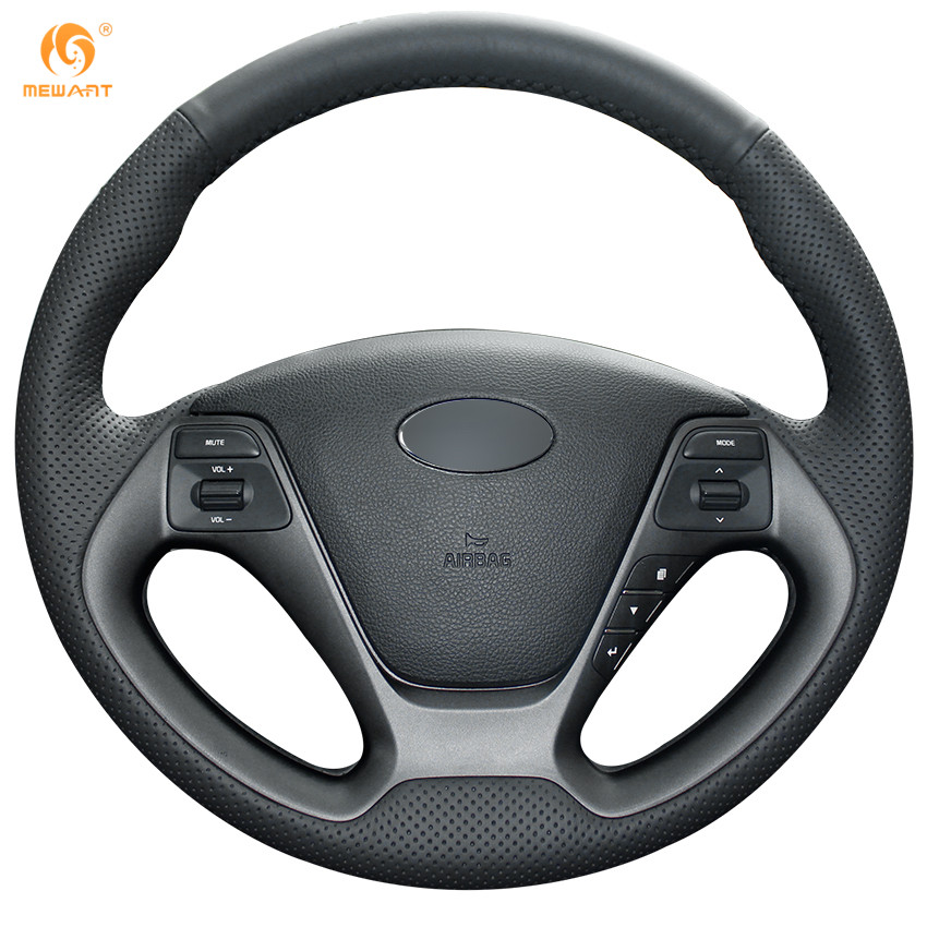 Black Artificial Leather Car Steering Wheel Cover for Kia K3 2013 K2 Rio 2015 2016 Ceed Cee'd 2012-2017 Cerato 2013-2017