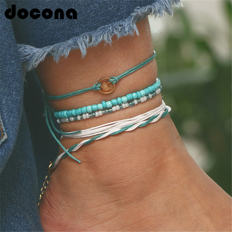 docona Beach Blue Green Rope Wave Pendant Anklets for Women Wave Surfer Layered Anklet Bracelet Boho Foot Jewelry Pulseras 6548
