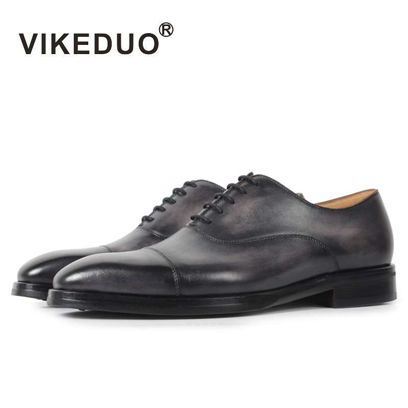 VIKEDUO Luxury Brand Summer Men Shoes Patina Bespoke Handmade Dress Male Footwear Genuine Leather Men's Oxford Shoes Zapatos
