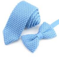 Mantieqingway Hombres Vintage Knit Bowtie Tie Set Moda Casual Sólido Corbata de Color 5 cm Estrecha Corbata Pajaritas para Los Hombres de Lana boda