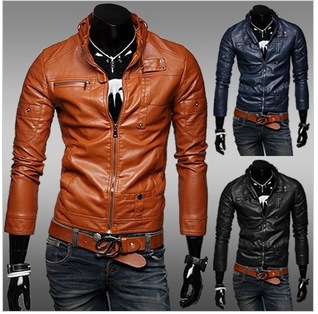 Classic Style Motorcycling PU Leather Jackets Men Slim Male Motor Jacket Men's Clothes