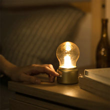 2018 Vintage Bulb Night Light Wedding USB Lamp Rechargeable luminaria Nightlight LED energy-saving Book lights Mini Bed Lamps(China)
