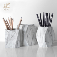 Marble Print Pen Holder Geometric Pencil Case Makeup Brush Storage Box Creative Home Office Desk Ornaments Stationery Gifts