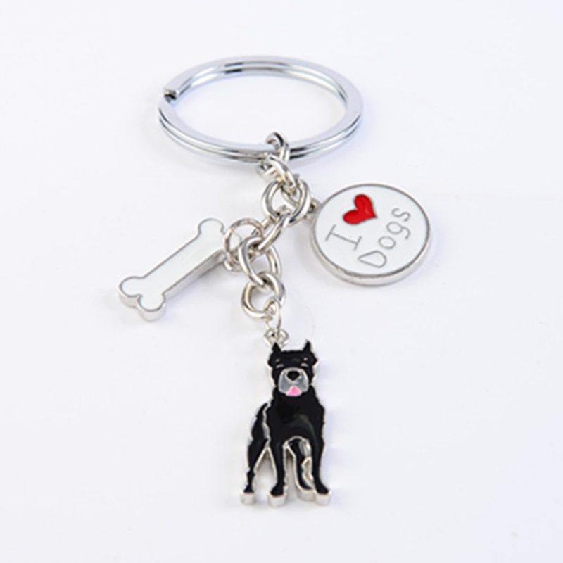Cane Corso dog key chains for men women silver color metal alloy dog pendant bag charm car keychain key ring holder trinket
