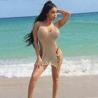 Donne Sexy Crochet di Lavoro A Maglia Club Dress Vedere attraverso Scollo A V Vestiti dalla spiaggia di Estate Low Cut Split Catena Scava Fuori Il Vestito LA013
