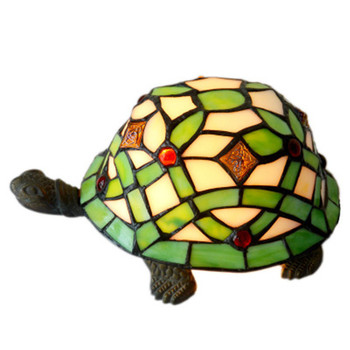 European Style Stained Glass Simulation Tortoise Push Button LED Light Fashion Home Art Decoration Baby Room Night Lamp X1373