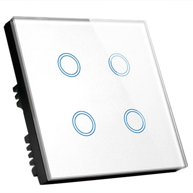 Commutateur intelligent Wifi Standard britannique 4 gangs, commutateur Wifi mural à commande vocale Alexa