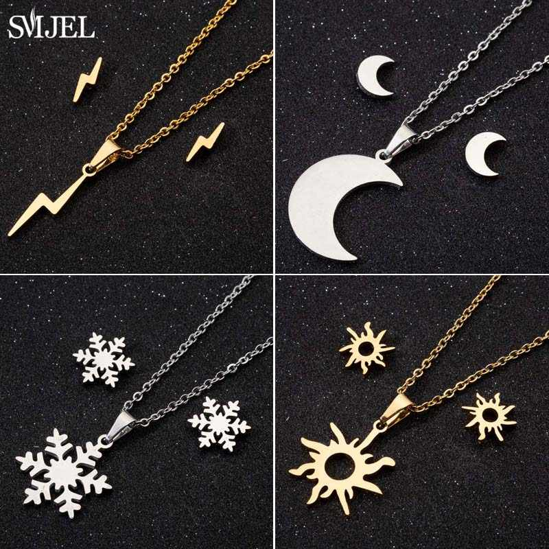 SMJEL Simple Stainless Steel Sun Flower Necklaces For Women Rock Lightning Earrings Stud Girlfriend Gifts Party Chic Jewelry