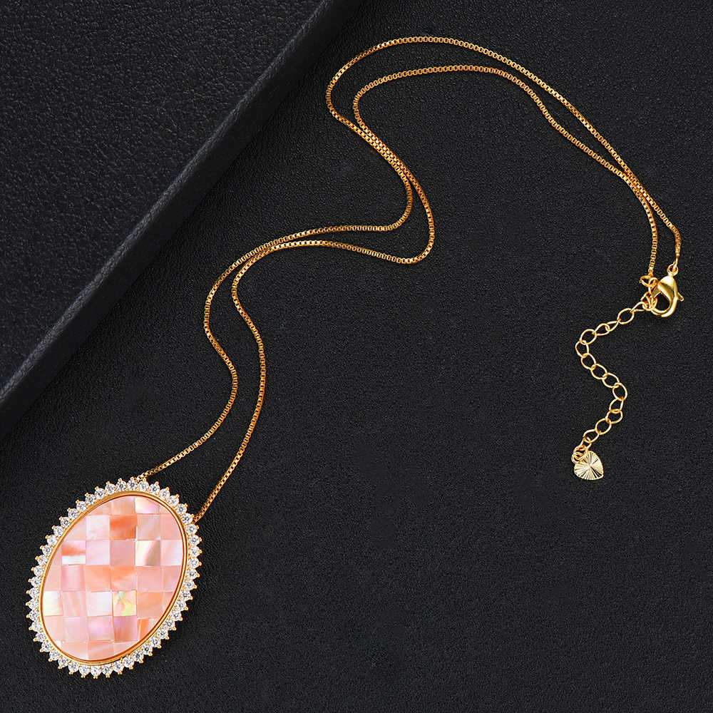GODKI Trendy Big Oval Charms Halskette Anhänger Für Frauen Hochzeit Braut Cubic Zirkon Shell Dubai PARTY HOCHZEIT Schmuck BOHO2019