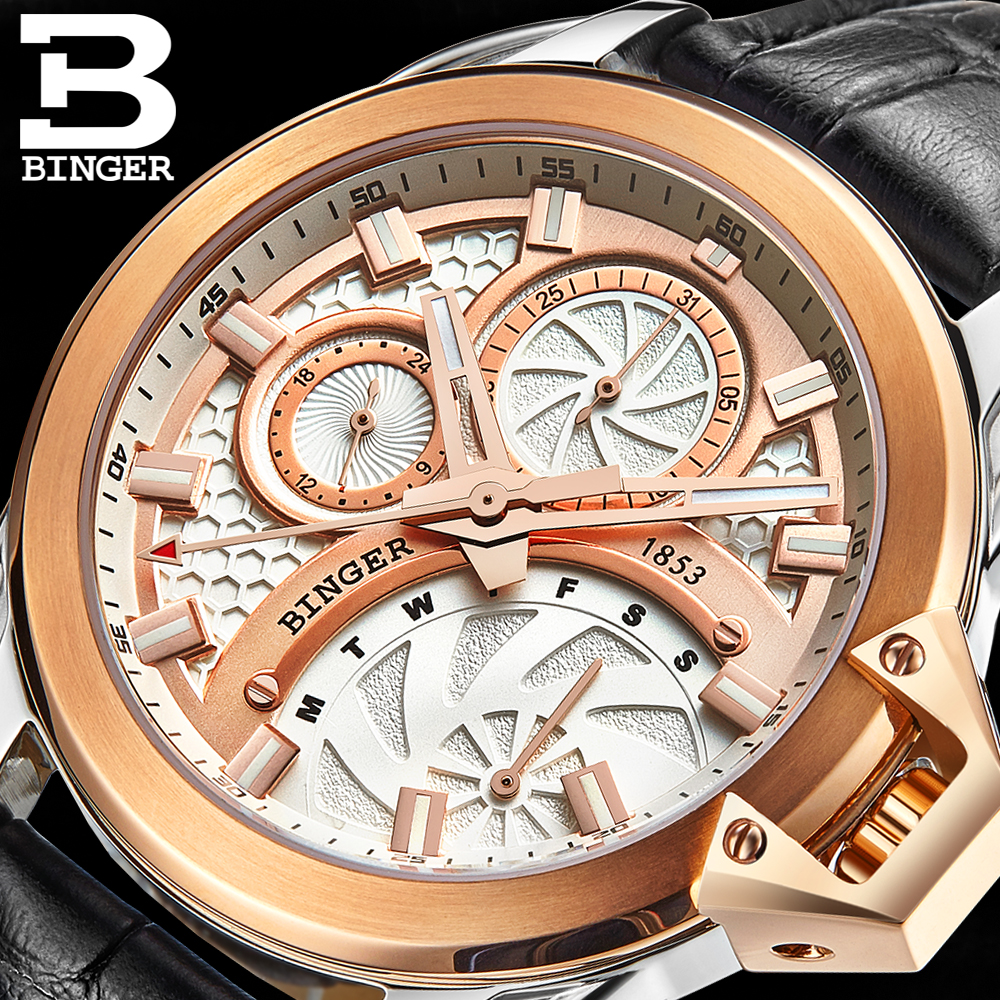 reloj hombre Full Stainless Steel Sport Watches Men Quartz Watch Clocks Relogio Masculino 2017 Luxury Brand BINGER Big dial big face original oulm 9316b brand japan movt quartz dz watch large men dual time male imported reloj hombre relogio masculino