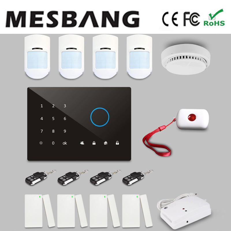 house gsm wireless alarm system  security with English, Russian, Spanish, German, French  with app control free shipping by DHL free shipping guard english french app wireless gsm pstn phone alarm security system built in speaker for intercom security