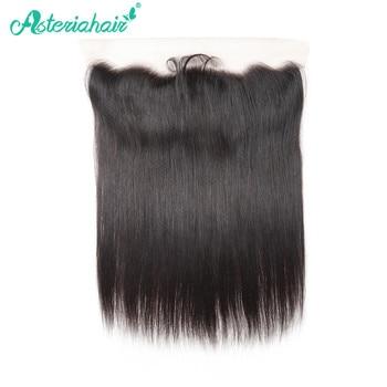 Pelo humano brasileño liso Asteria 13X4 Frontal de encaje con pelo de bebé 8-20 pulgadas pelo negro Natural Remy envío gratis
