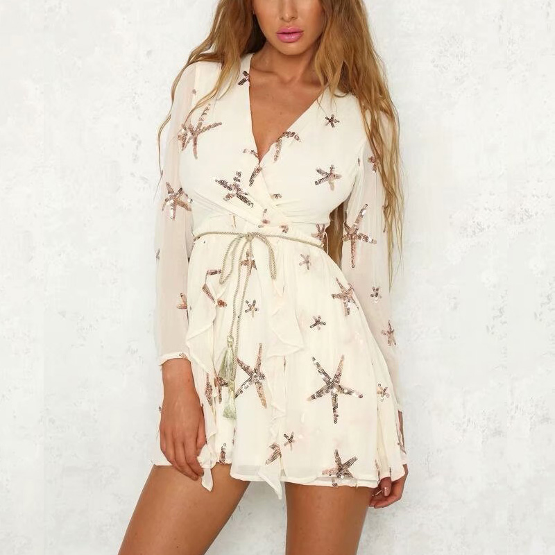 2019 Summer women mini dress casual solid color V neck sequined dress long sleeve frills