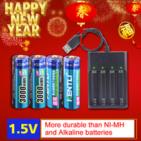 KENTLI 4pcs AA 1.5V 3000mWh lithium li ion rechargeable battery + 4 Channel polymer li ion battery batteries charger