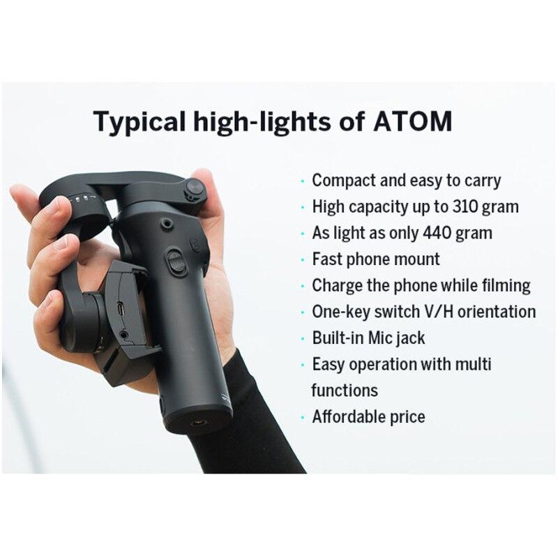 Atom 3 axis Складной Карманный ручной шарнирный стабилизатор для камеры GoPro Портативный телефон карданного подвеса для iPhone X huawei смартфоны для ... - 2