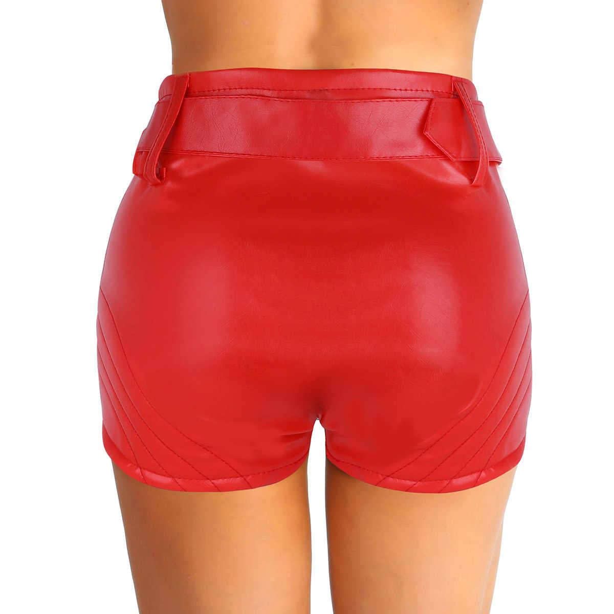 ผู้หญิง Rave เสื้อผ้า Pole Dance กางเกงขาสั้นดูเปียก PU หนังซิปด้านหน้าเอวสูงกางเกงกับเข็มขัด Pole Dance กางเกงขาสั้น Booty