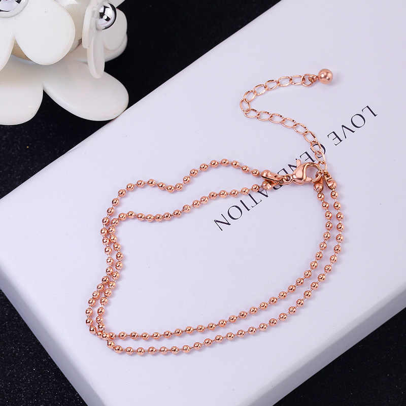 YUN RUO Fashion Brand Rose Gold Anklet Double Layer Beads Chain for Woman Girl Gift 316 L Stainless Steel Jewelry Top Quality