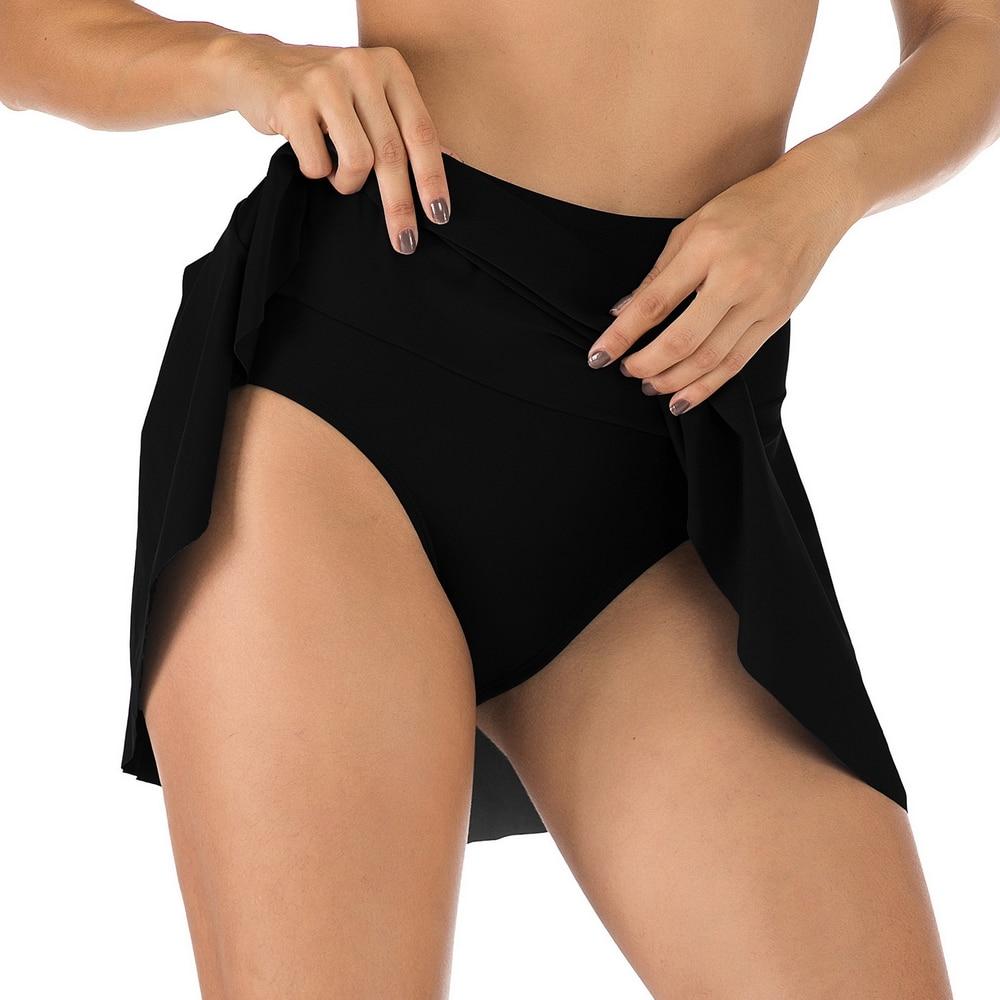 Винтажное черное платье для плавания, женский купальник с высокой талией, плотные бикини-шорты, купальник, закрывающий купальник, купальные...